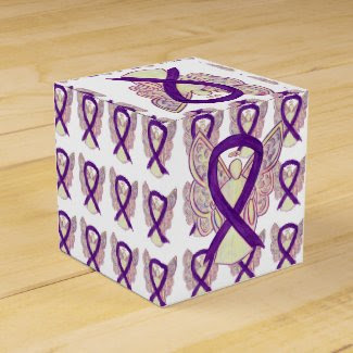 Purple Awareness Ribbon Angel Party Favor Boxes
