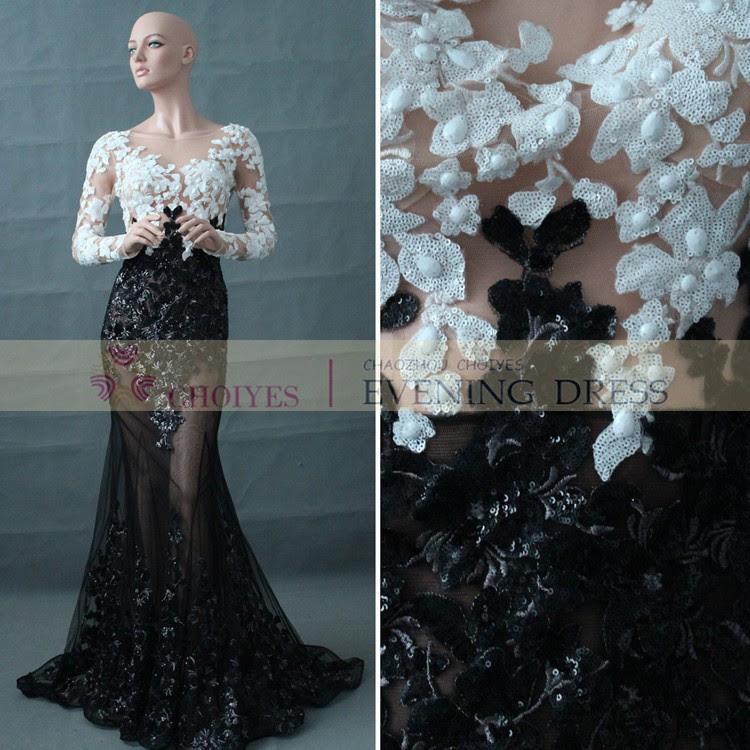 Black white long evening dresses