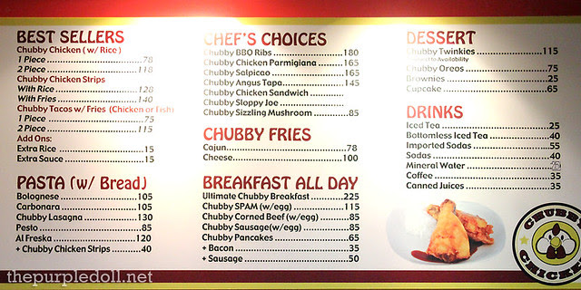 Chubby Chicken Menu
