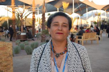 <p>Jamila Bargach, que ha asistido a la Cumbre del Clima de Marrakech, conoce bien el problema al que se enfrentan las mujeres bereberes del sur de Marruecos para recoger agua. Junto a la investigadora canaria Victoria Marzol ha instalado un sistema de mallas para capturar agua de la niebla. / SINC</p>