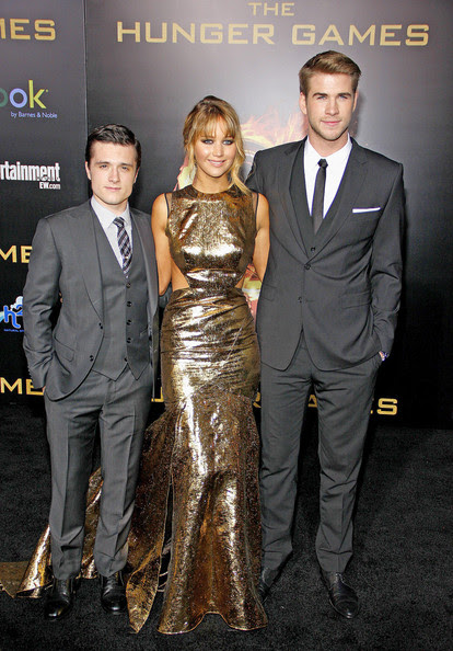 """Josh Hutcherson, Jennifer Lawrence and Liam Hemsworth at the Los Angeles premiere of """"The Hunger Games"""" held at the Nokia Theatre L.A. Live, Los Angeles."""