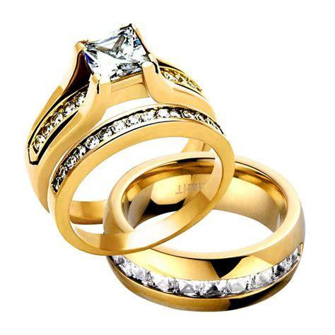 HIS HERS 3 PIECE MEN'S WOMEN'S 14K GOLD PLATED WEDDING