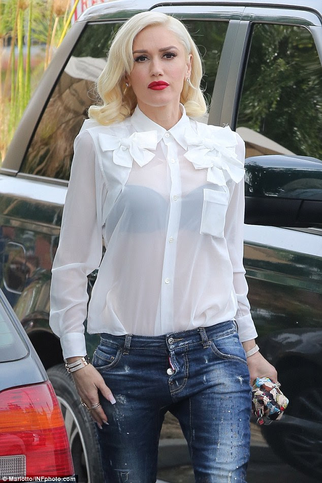 Check out stylish icon gwen stefani in sheer white top and for White bra white shirt