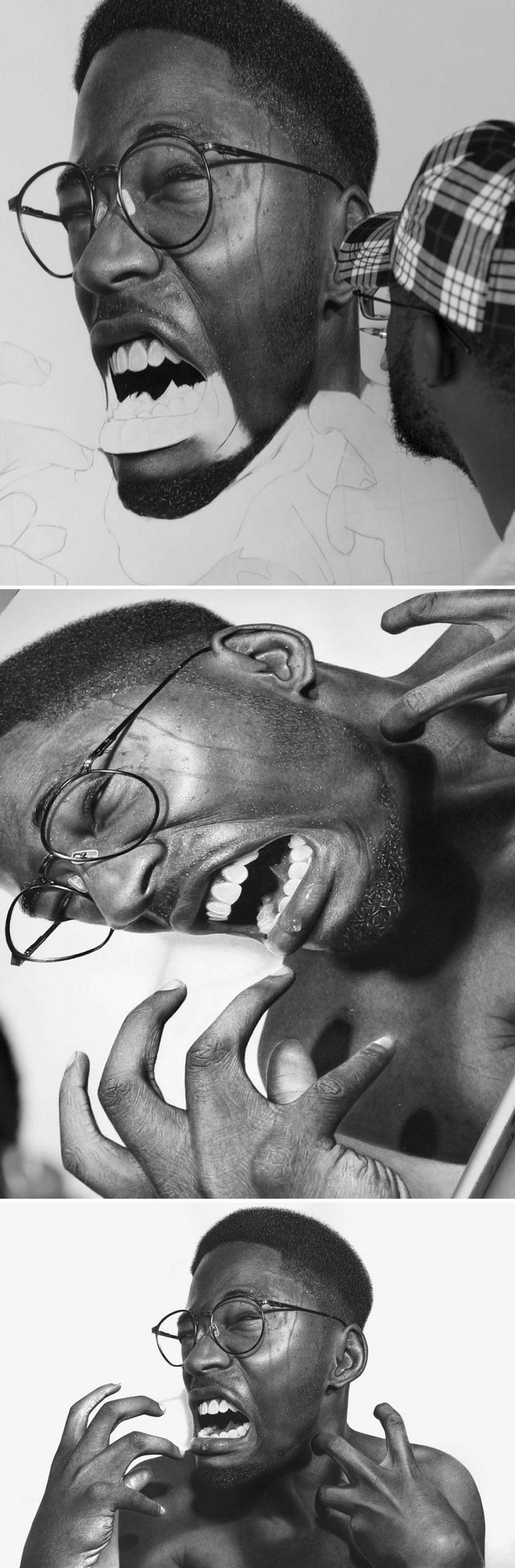 Retratos hiperrealistas de grande porte renderizados com grafite e carvão 05
