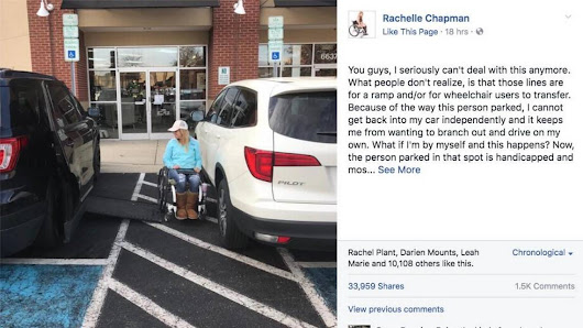 'Paralyzed bride' has a message for drivers who make it tough to access parking spaces