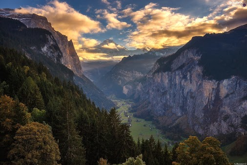 #Beautiful #views #wallpapers #full #hd #Lauterbrunnental #Valley #Alps #Mountains #Sunrise #trees #...