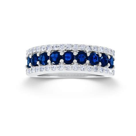 1/3 Cttw. Round 10k White Gold Diamond & Sapphire Wedding