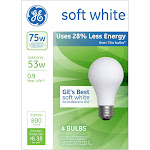 GE 75-Watt Energy Efficient Halogen Light Bulb (4-Pack) - Soft White, Frosted Bulb