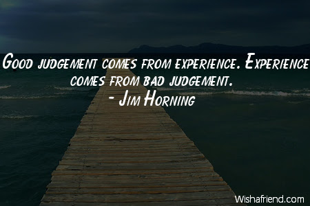 Jim Horning Quote Good Judgement Comes From Experience Experience
