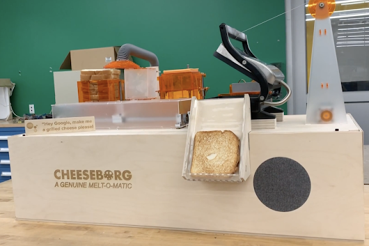 Cheeseborg is a voice-controlled robot that makes grilled cheese sandwiches