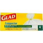 Glad Compactor Kitchen Trash Bags - 18 Gallon White Trash Bag - 4 Count