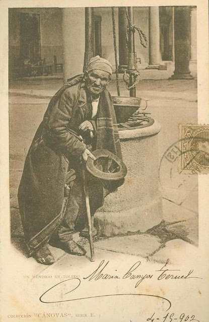 Un mendigo de Toledo hacia 1900. Foto Cánovas (Kaulak)