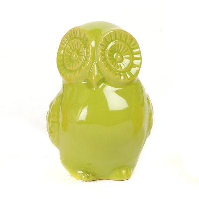 Green Ceramic Big Eyes Owl Statue