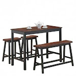 4 pcs Solid Wood Counter Height Dining Table Set-Coffee - Color: Coffee