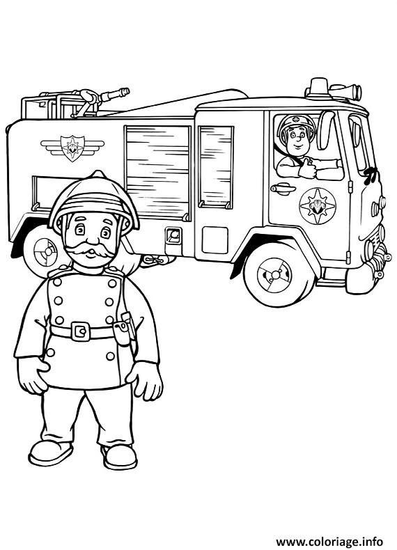 Coloriage Sam Le Pompier Dans Un Camion Et Son Capitaine Jecoloriecom