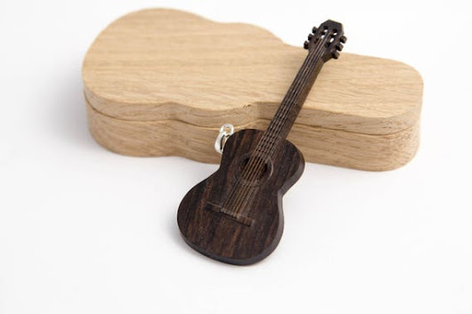 Guitar pendant Wooden necklace classic guitar Wood jewellery