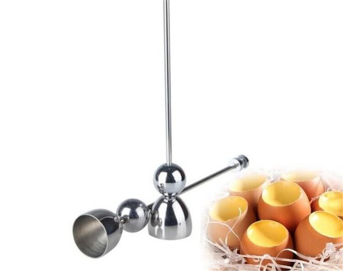 Best Offer  Dining E-gg Topper Cutter Shell Opener Silver Egg- Knocker Stainless Steel Boiled Raw Shell Open To