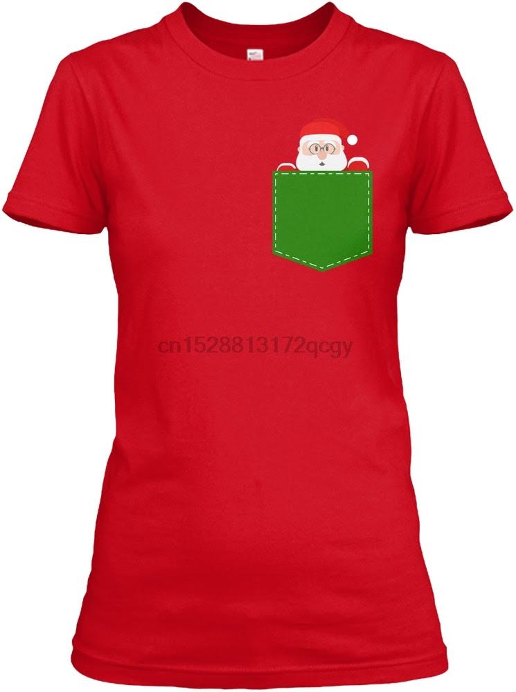 Men T Shirt Santa Claus Women's Christmas Pocket Tee Women T-Shirt Fashion T Shirts 100% Cotton Tee Shirt Men Women Men T-Shirt