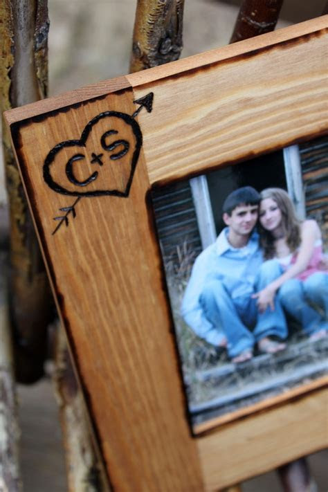 Personalized Rustic Wood Picture Frame, Engraved Heart