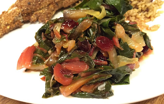 Braised Rainbow Chard with Dried Cranberries