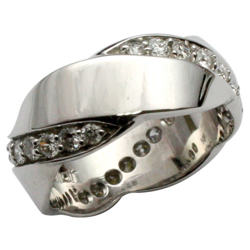 White Gold and Diamond Wedding Band, with a Twist!