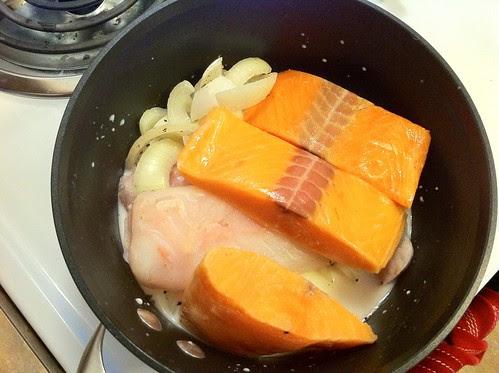 Salmon Added to Pot of Milk