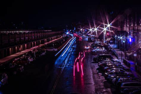 light reflecting  wet pavement  stock photo