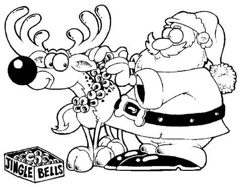 santa decorates reindeer coloring page  supercoloring