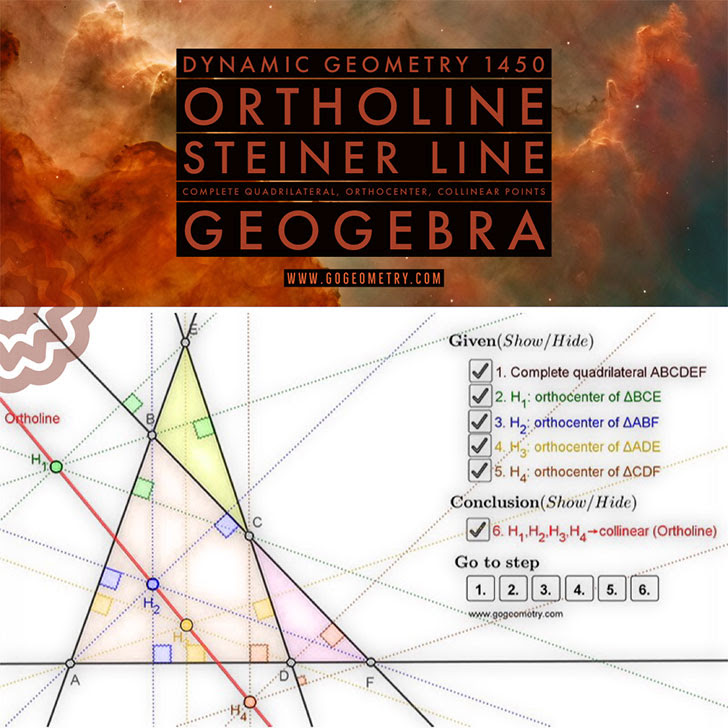 Dynamic Geometry 1450: Ortholine, Steiner Line. Using GeoGebra.
