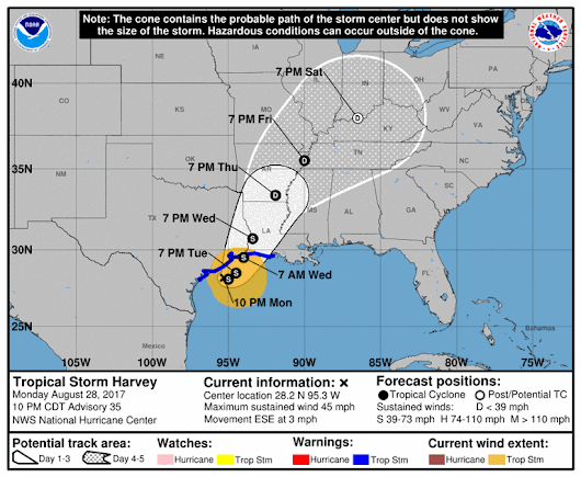 Tropical Storm Harvey: See radar, projected track, potential New Orleans, Baton rouge impacts, more
