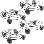 """4 Pack 10.6"""" Iron Plant Caddy with Heavy Duty Wheels Casters, Metal Plant Dolly Rolling Flower Pot Planter Stand Mover on Round Rack, Rustproof for"""