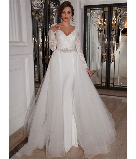Detachable Skirt Long Sleeve Lace Wedding Dress 2016