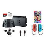 Nintendo Switch Bundle (7 items): 32GB Console Gray Joy-con, 128GB Micro SD, Joy-Con (L/R)-Neon Red/Neon Blue, Mario Kart 8 Deluxe Game Disc, Type C