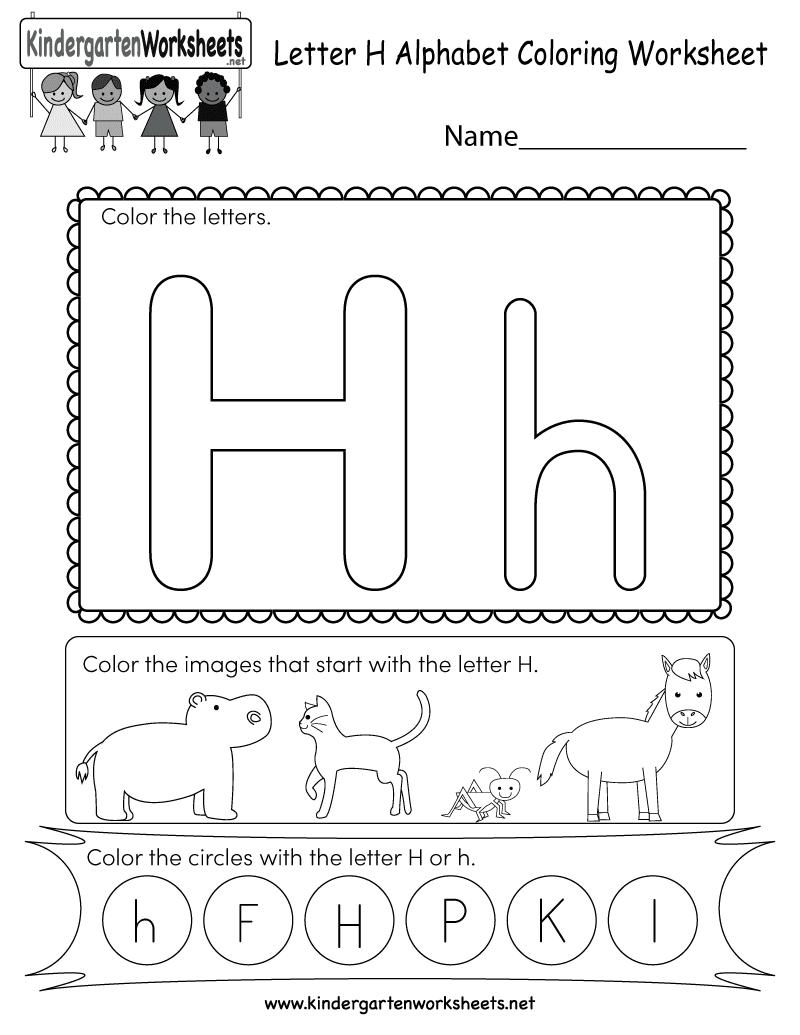 Free printable letter h coloring worksheet for kindergarten