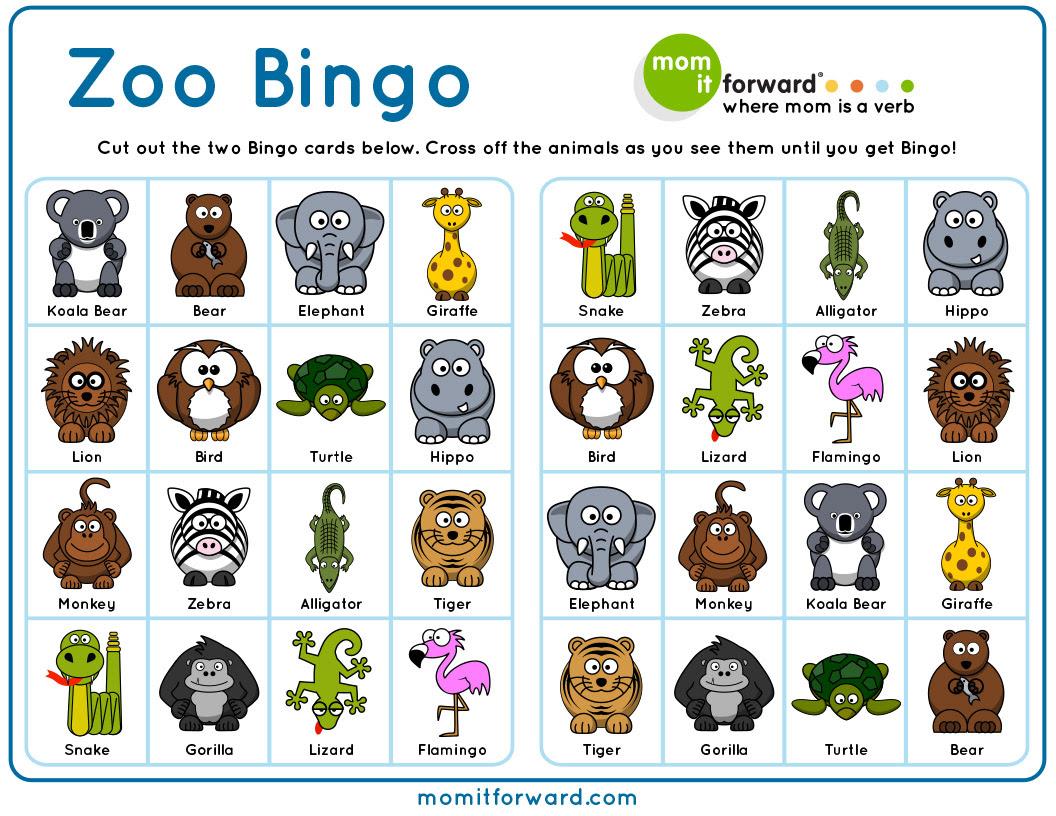 Zoo Bingo Printable - Mom it ForwardMom it Forward