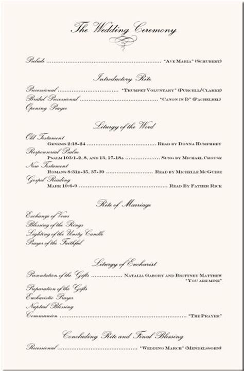 Wording Examples Wedding Ceremony Programs   Wedding