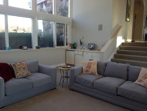 Couches are a velvet-like fabric, pale blue oxford stripe Chairs