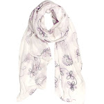 Summer Fashion Blossom Embroidered Sheer Floral Scarf Wrap Shawl White