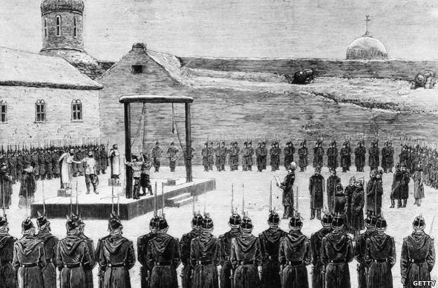 Ejecución de nihilistas en San Petersburgo en 1880.