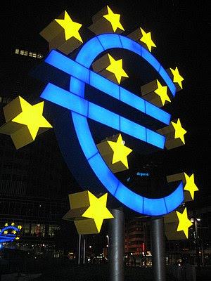 A euro light sculpture at the European Central...
