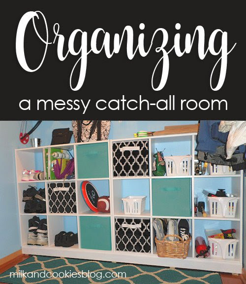 Organizing a Messy Catch-all Room - Milk and Cookies