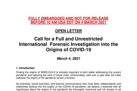 Letter Seeking International Inquiry Into Origins of the Coronavirus