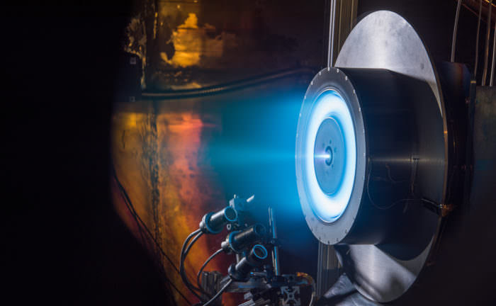 This prototype 13-kilowatt Hall thruster was tested at NASA's Glenn Research Center in Cleveland and  will be used by industry to develop high-power solar electric propulsion into a flight-qualified system.  Credits: NASA
