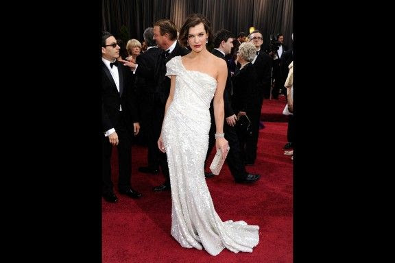 Milla Jovovich in Elie Saab at 2012 Oscars
