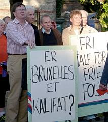 Demonstrators with signs