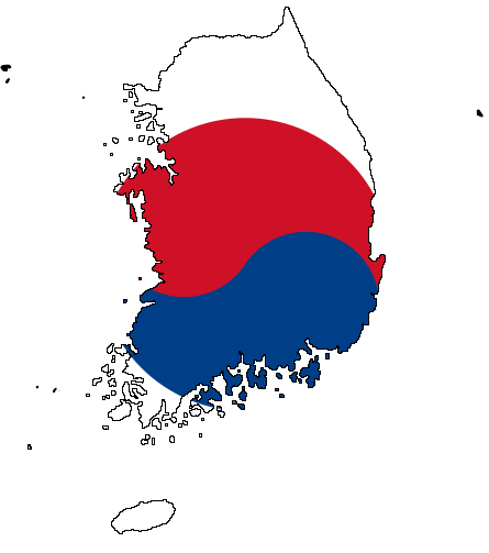 south korea and north korea flags. South Korea consists of about