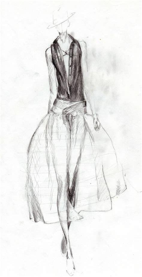 pencil drawing  catwalk model    dress art