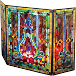 """River of Goods Tiffany Style Stained Glass Fleur de Lis Fireplace Screen, 44""""W x 28""""H"""
