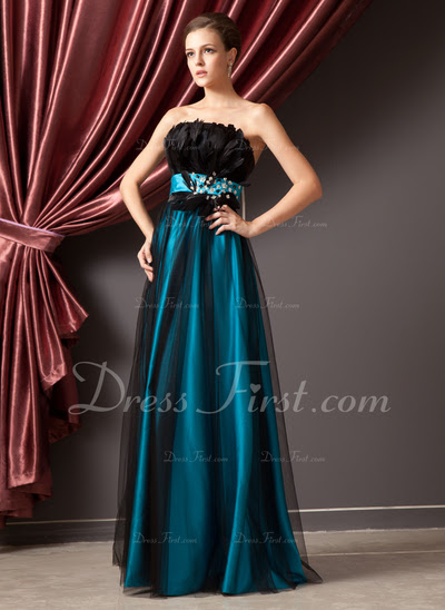 A-Line/Princess Strapless Floor-Length Satin Tulle Prom Dress With Beading Feather (018014241)