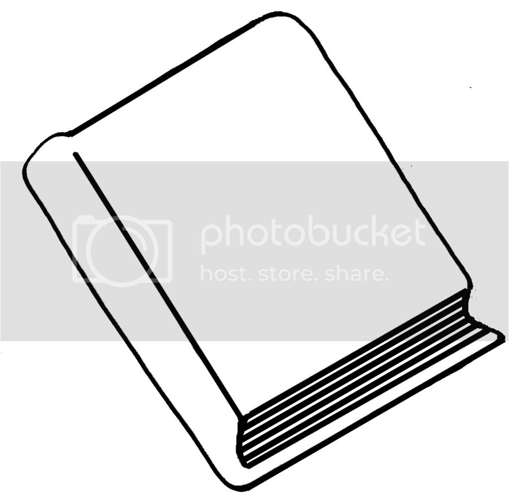 Black and white book clip art image for commercial use